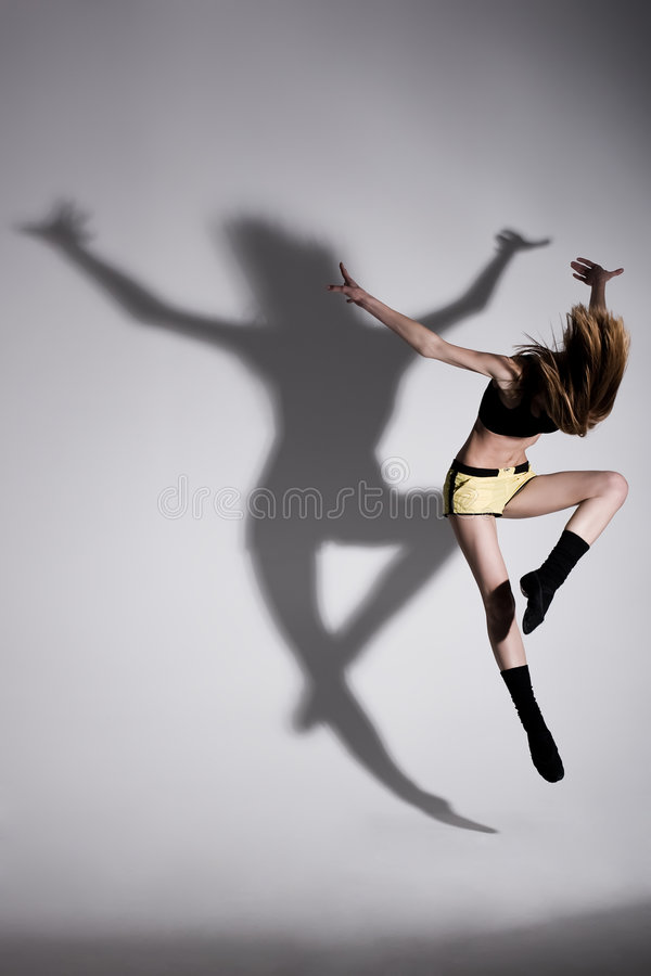 Dance with shadow stock photos