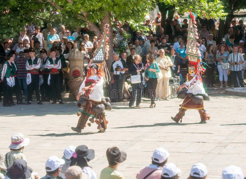 Dance of the shepherds in the Bulgarian folklore festival stock photos