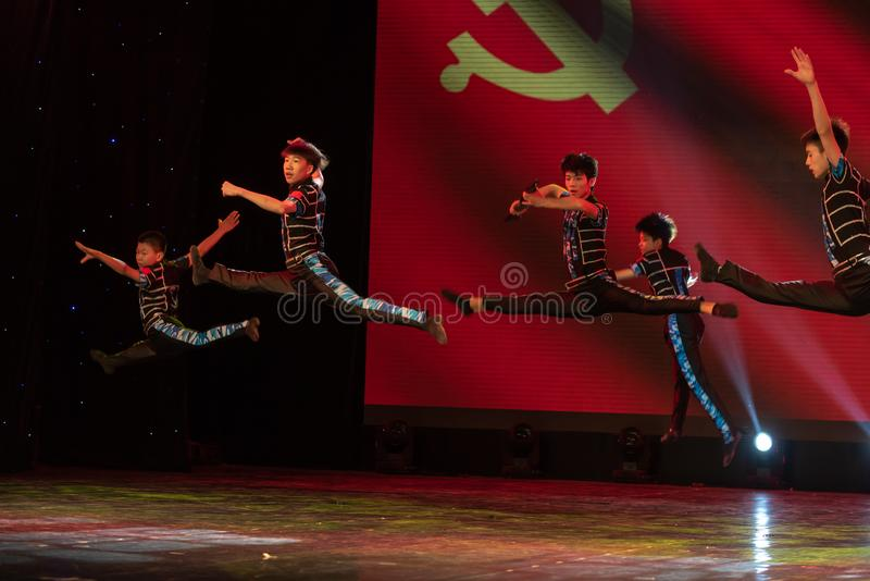 Scout-China classic dance. The dance shows a group of scouts` sitting and living, and their vigorous posture. In June 13, 2018, dance dancers from all over the royalty free stock images