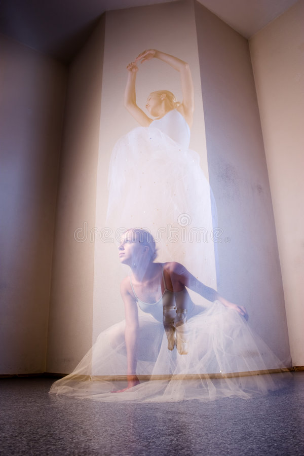 Dance of soul. Soul of young ballerina is dancing and flying royalty free stock image