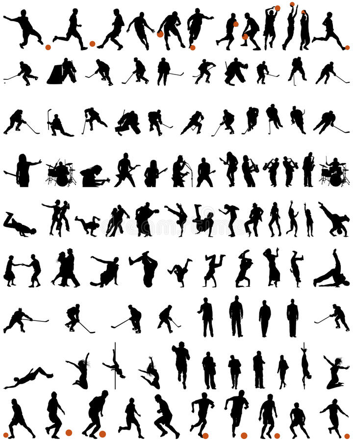 Dance and sport silhouettes set vector illustration