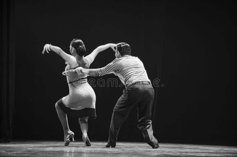 A dance step. Fernanda Ghi and Guillermo Merlo is Argentina's most famous tango dancer, is also a famous choreographer. They won American Broadway Toni prize and royalty free stock images
