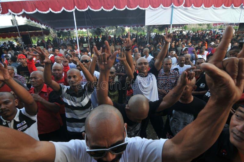 Dance Together during Celebration. Supporter dancing together during a victory celebration Presidential Candidate Joko Widodo in Sukoharjo, Central Java stock image