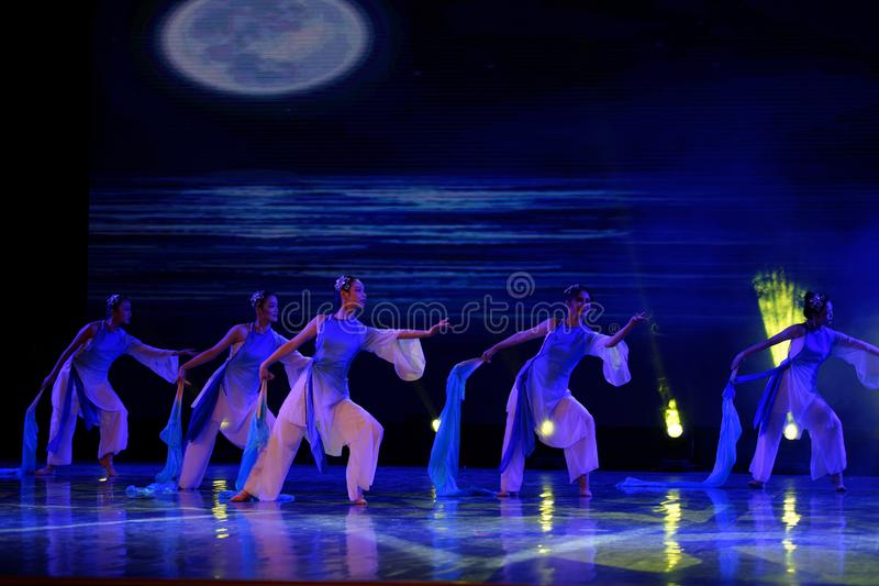 The search of the sea 2 -Chinese folk dance. Dance is the transformation of the sea, like a girl, like a shrew, but a mother`s mind. In June 13, 2018, dance stock photos