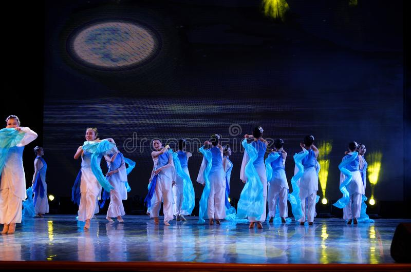 The search of the sea 2 -Chinese folk dance. Dance is the transformation of the sea, like a girl, like a shrew, but a mother`s mind. In June 13, 2018, dance stock photo