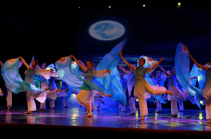 The search of the sea 3 -Chinese folk dance. Dance is the transformation of the sea, like a girl, like a shrew, but a mother`s mind. In June 13, 2018, dance royalty free stock image