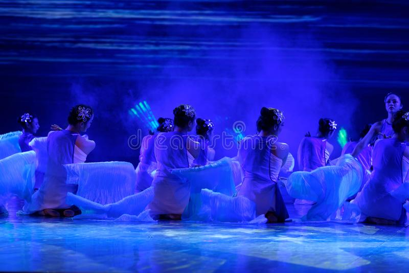 The search of the sea 3 -Chinese folk dance. Dance is the transformation of the sea, like a girl, like a shrew, but a mother`s mind. In June 13, 2018, dance stock image