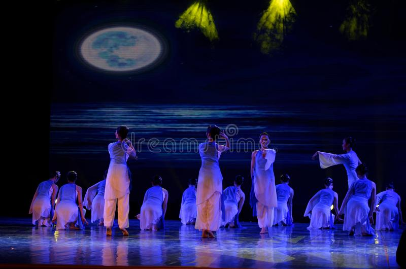 The search of the sea 1 -Chinese folk dance. Dance is the transformation of the sea, like a girl, like a shrew, but a mother`s mind. In June 13, 2018, dance royalty free stock photos