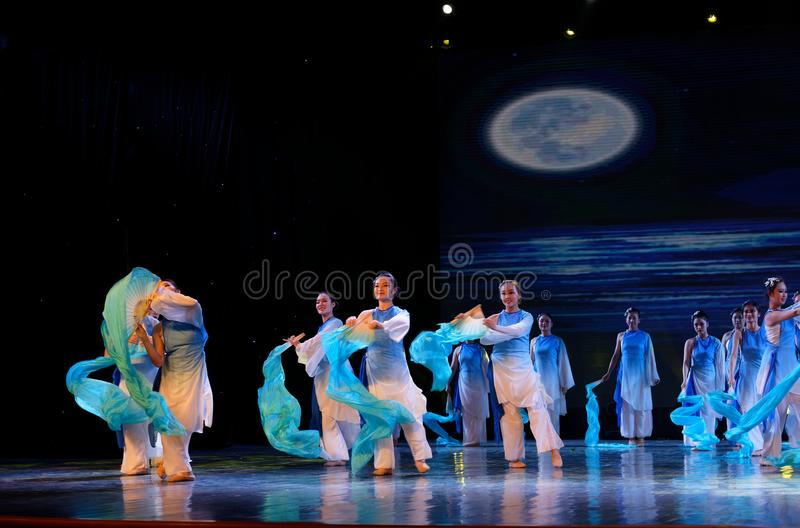 The search of the sea 2 -Chinese folk dance. Dance is the transformation of the sea, like a girl, like a shrew, but a mother`s mind. In June 13, 2018, dance royalty free stock photo