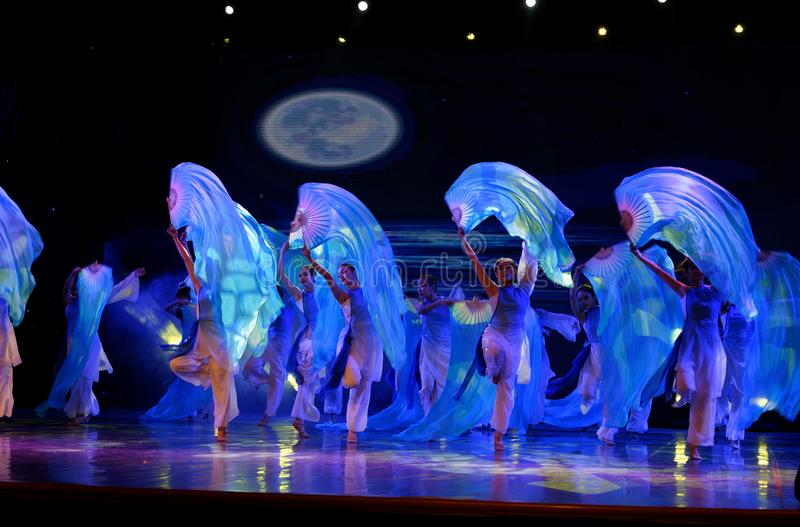 The search of the sea 3 -Chinese folk dance. Dance is the transformation of the sea, like a girl, like a shrew, but a mother`s mind. In June 13, 2018, dance royalty free stock photos