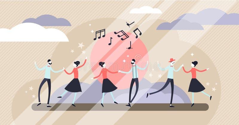 Dance vector illustration. Flat tiny motion entertainment persons concept. stock illustration