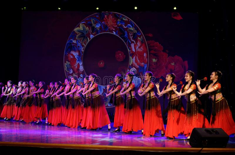 Send you a rose 4 -Chinese national dance in Xinjiang. It is a dance widely distributed in the Uygur ethnic group, accompanied by the music of the king of the stock images