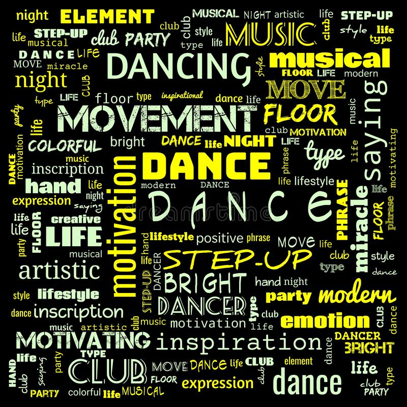 dance word cloud, dance text, dancing word cloud,word cloud use for banner, painting, motivation, web-page, website background, t- vector illustration