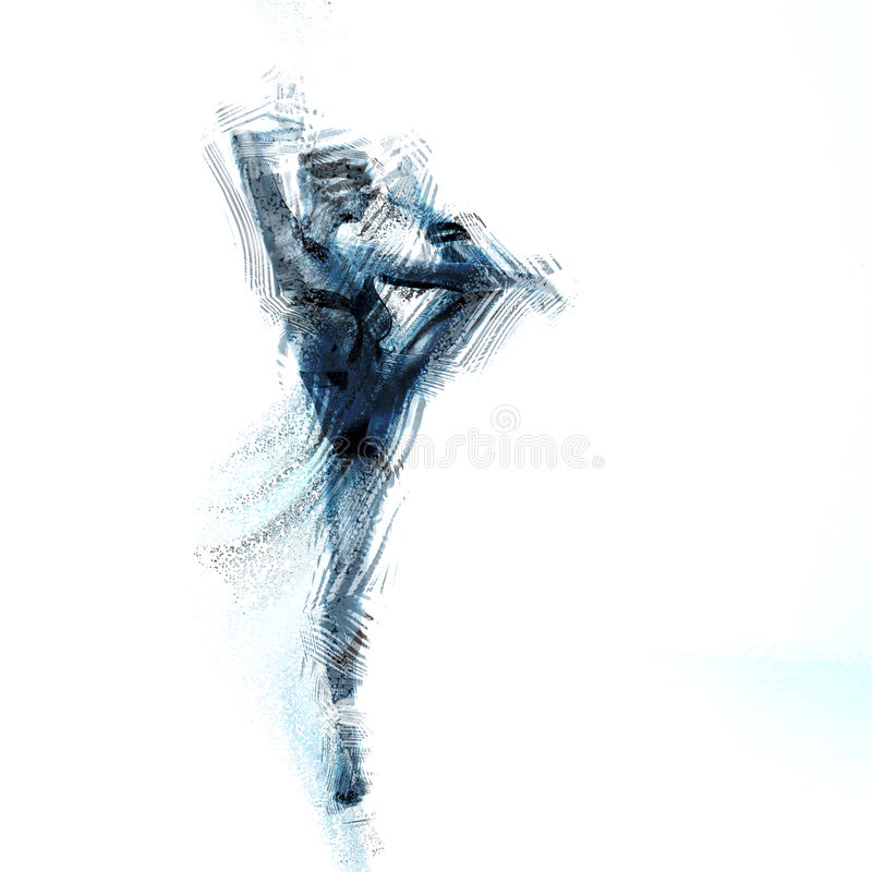 Dancing woman. Female ballet dancer in motion royalty free illustration