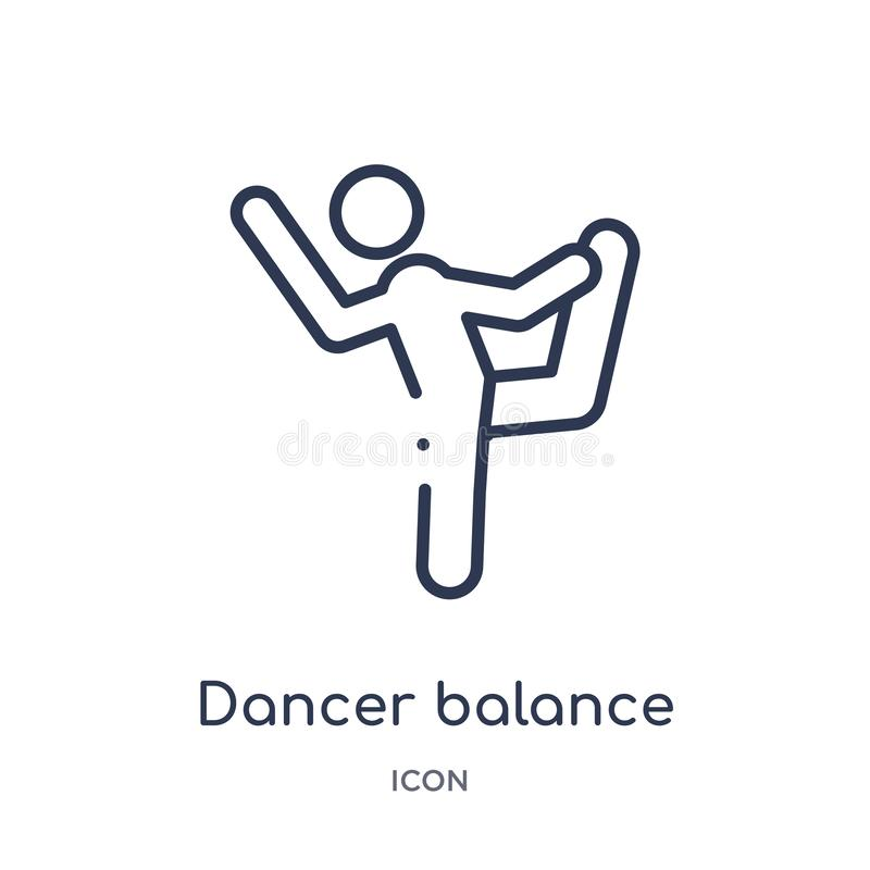 Dancer balance posture on one leg icon from sports outline collection. Thin line dancer balance posture on one leg icon isolated. On white background stock illustration