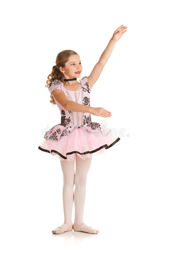 Dancer: Ballet Dancer Gestures to Space to Side royalty free stock photo