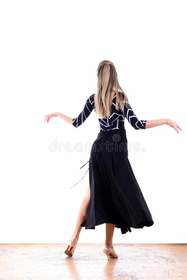 Dancer in ballroom against white background royalty free stock images