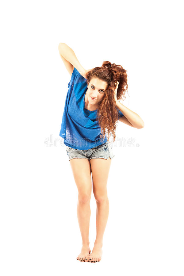 Dancer - Brunette Isolated royalty free stock photography