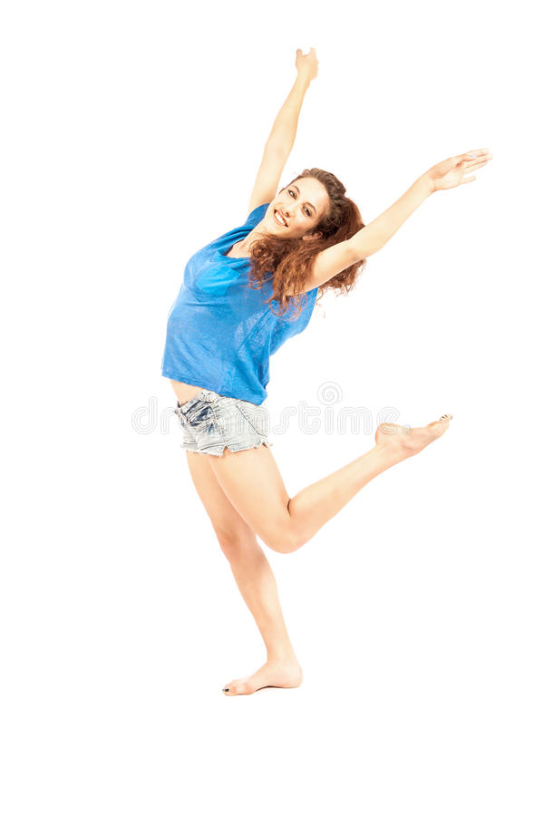 Dancer - Brunette Isolated royalty free stock photos