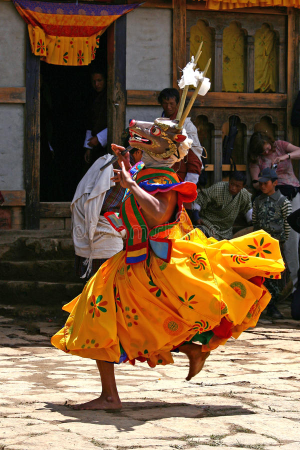 A dancer with colorful mask stock images
