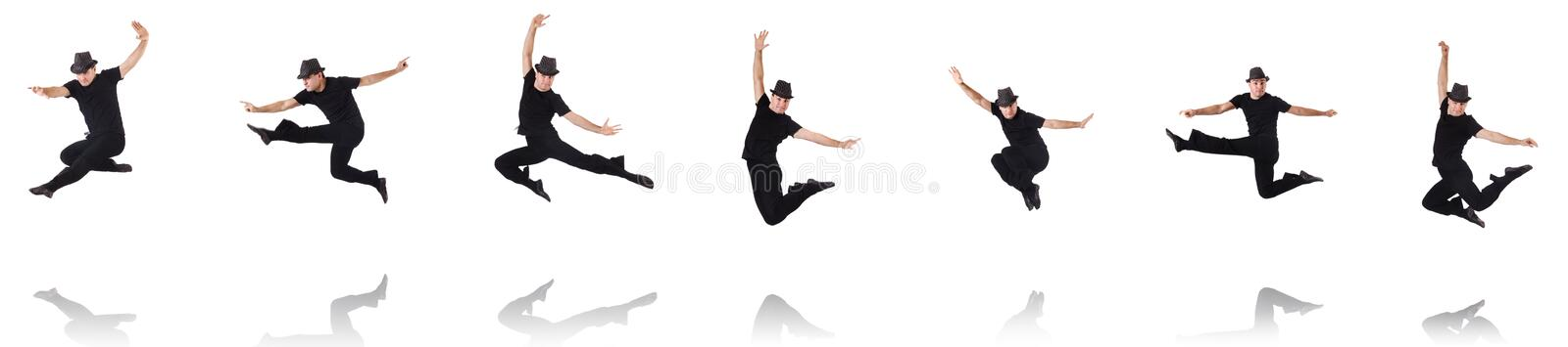 The dancer dancing on the white royalty free stock images