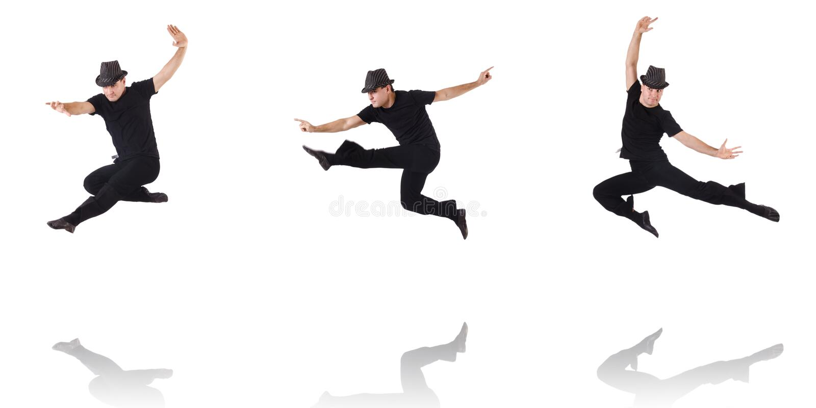 The dancer dancing on the white stock photo
