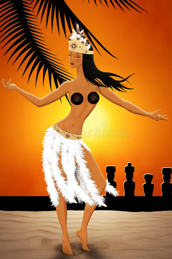 Download Dancer in Easter Island stock illustration. Image of moai - 41425711
