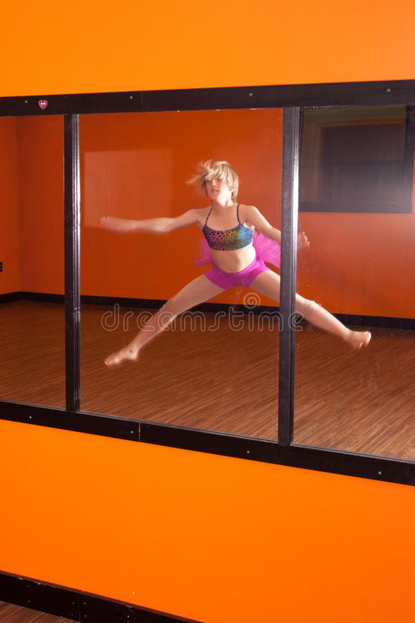 Download Dancer Exercising In Front Of Mirror Stock Photo - Image: 37713092