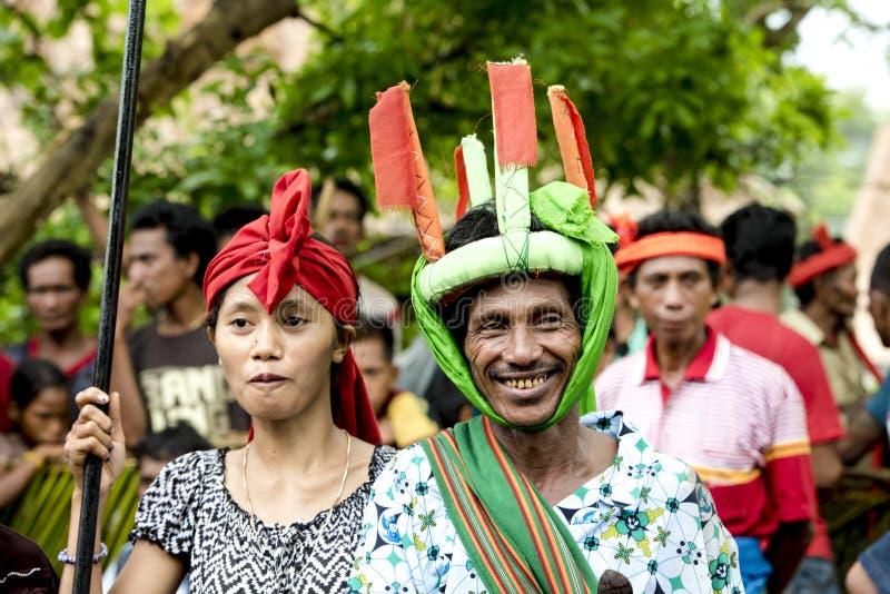 Fighter and dancer at Pasola Festival, Kodi, Sumba Island, Nusa Tenggara stock photos