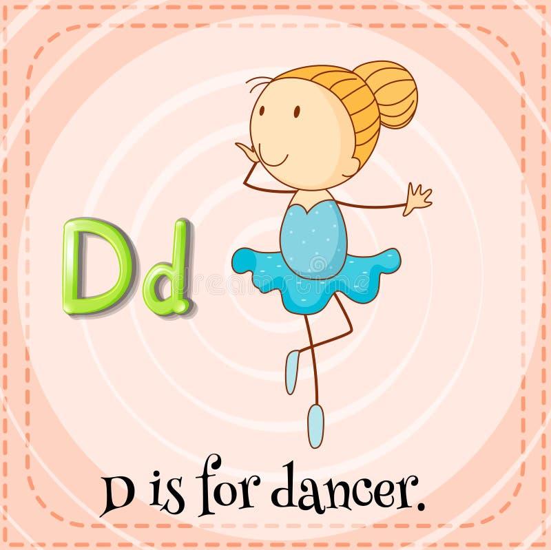 Dancer. Flashcard letter D is for dancer vector illustration