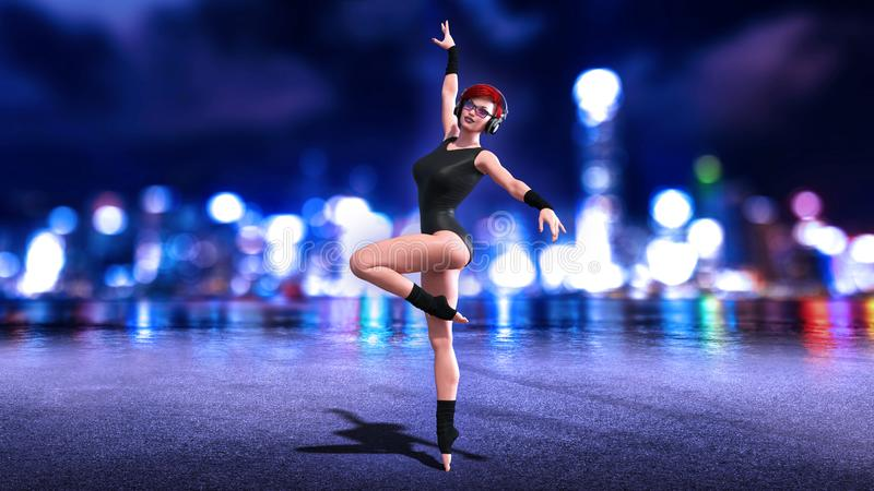 Dancer girl with headphones, dancing redhead woman posing with night city skyline in background, 3D render vector illustration