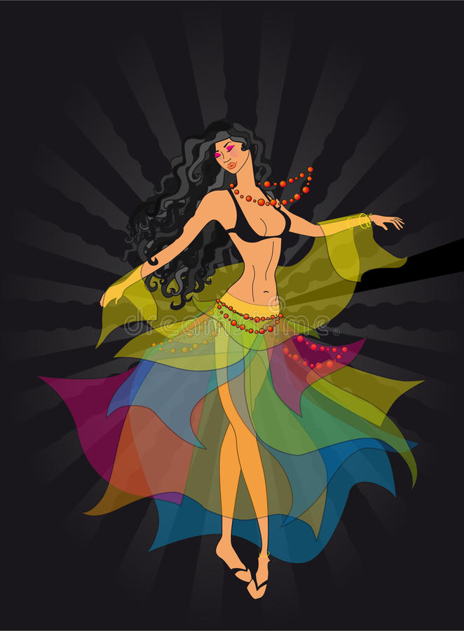 Dancer, a gypsy. This is a dancing girl-gypsy stock illustration