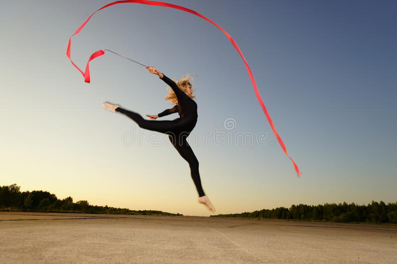Download Dancer jumping with ribbon stock photo. Image of grace - 38939582
