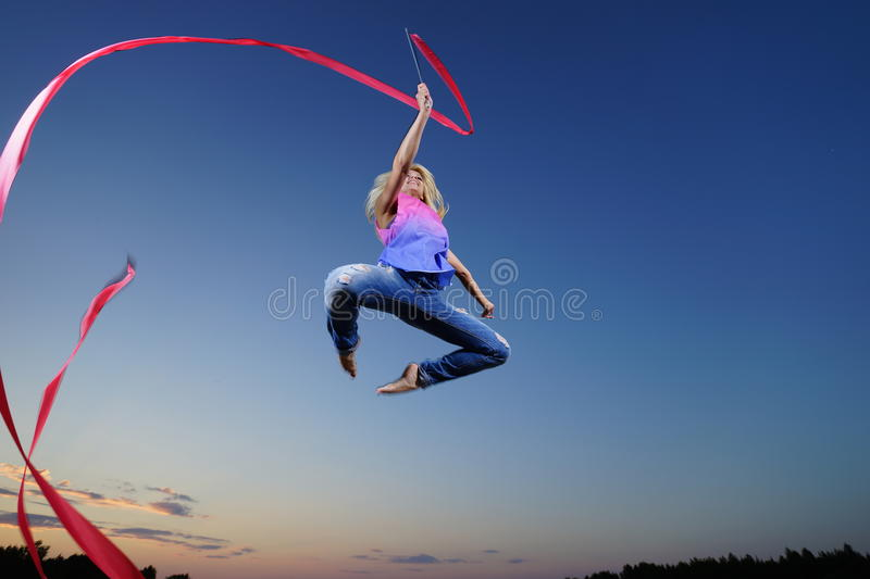 Download Dancer Jumping With Ribbon Stock Photo - Image: 38939607