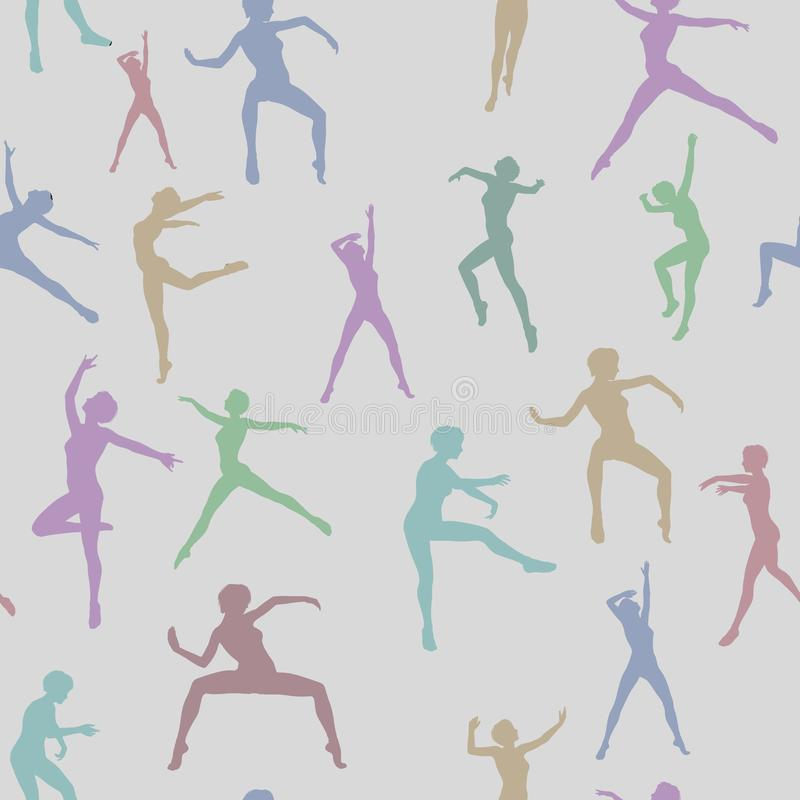 Assorted silhouette illustrations of dancers in a repeating background vector illustration