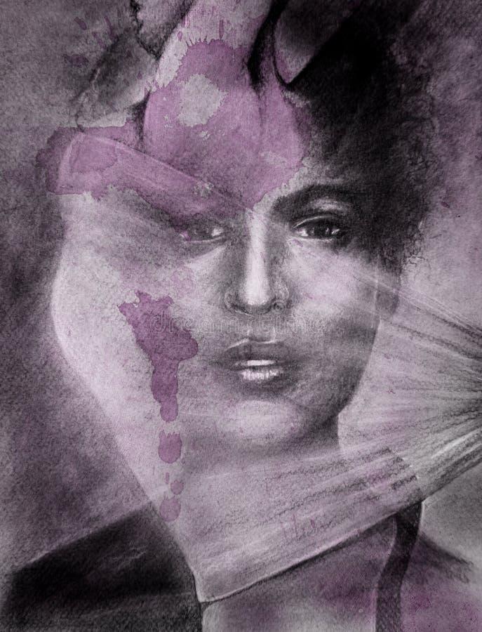Woman dancer portrait composite stock images