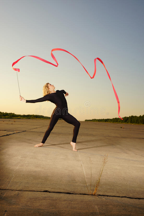 Dancer With Ribbon Stock Photo