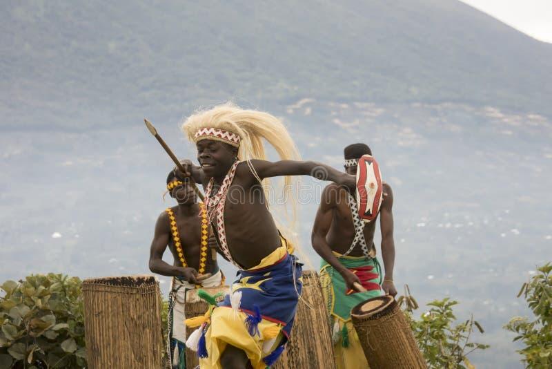 Dancer in Rwanda native dance troop, Virunga, Africa royalty free stock photography