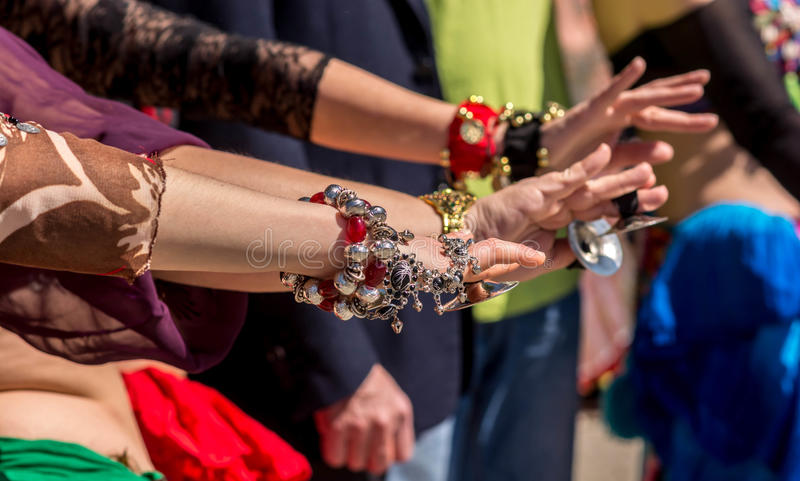 Dancer´s hands during a dancing show. royalty free stock image