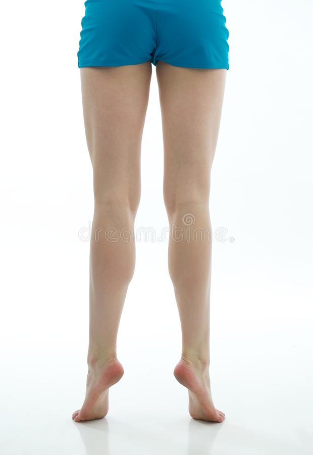 Dancer S Muscular Legs With Blue Shorts Royalty Free Stock Image