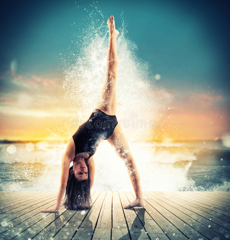 Dancer sea splash stock images