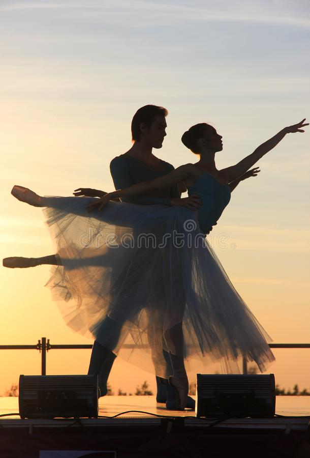 Dancer, Silhouette, Sky, Evening royalty free stock photography
