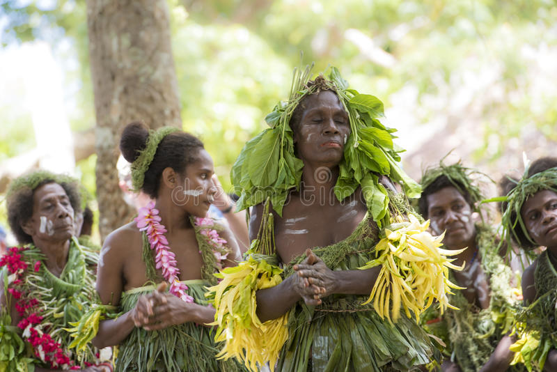 Dancer Solomon Islands. Traditional costumed women with natural material celebrate the typical dances