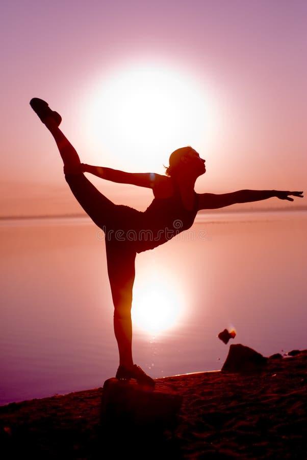 Dancer on sunrice royalty free stock photos