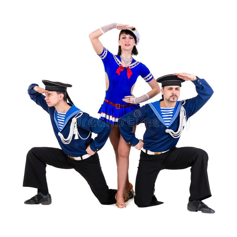 Dancer team dressed as a sailors posing on an stock images