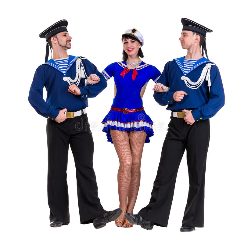 Dancer team dressed as a sailors posing on an stock photo
