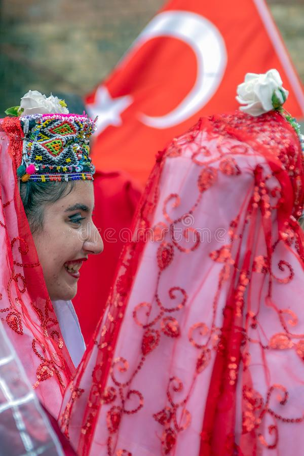 Dancer women from Turkey in traditional costume. TIMISOARA, ROMANIA - JULY 4, 2019: Dancer women from Turkey in traditional costume present at the international royalty free stock photo