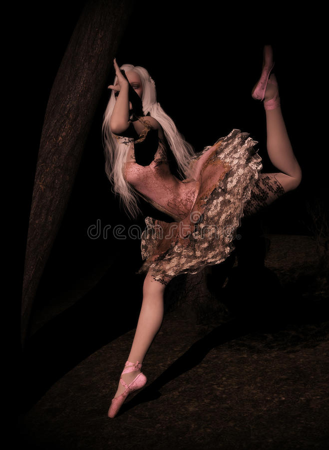 Dancer in the woods. 3D render of a ballerina with dirty dress dancing in the dark woods with a soft light shining on her