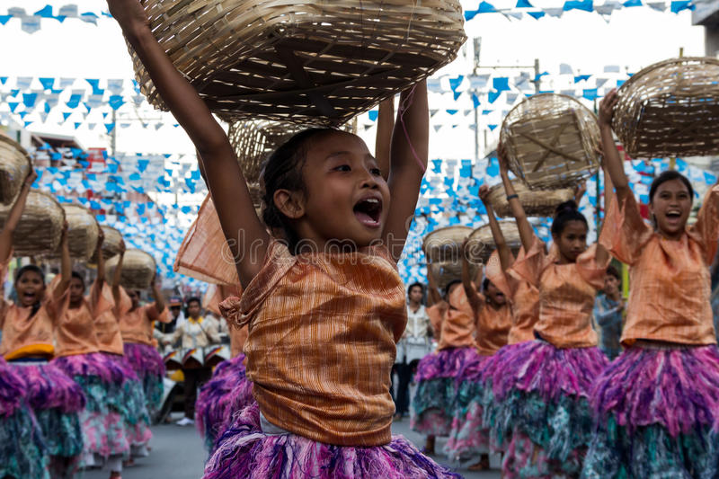 Dancer. Young girl dances in a street dance competition in the city of Dagupan, Philippines as part of their bangus festival royalty free stock photos