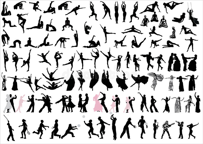 Download Danceres And Sportsmen Silhouettes Stock Illustration - Illustration of ballerina, girl: 9166714